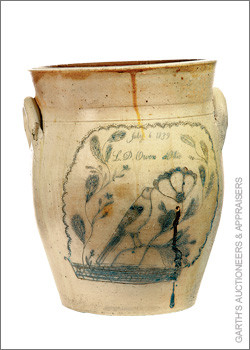 Kiln-Fired Stoneware Crock: Inscription on bottom dates piece to 1839