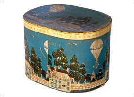 Wallpaper-covered Bandbox: Depicts 1835 hot air balloon flight