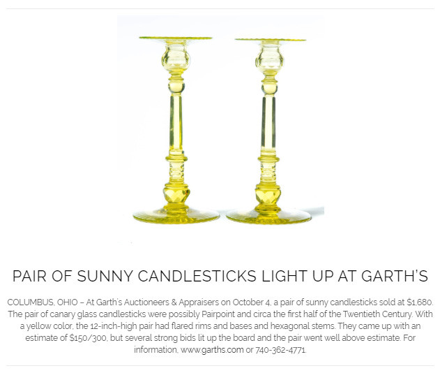 Canary Glass Candlesticks at Garth's 10-4-2019 lot 604