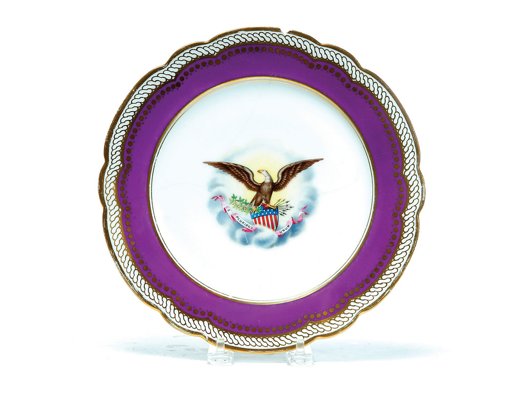 "French plate from the Abraham Lincoln White House service in the ""Solferino"" or ""Royal Purple"" pattern"