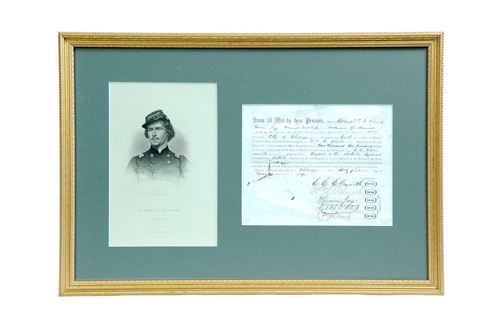 DOCUMENT RELATING TO THE RAISING OF A CADET ATTACHMENT TO THE 60TH ILLINOIS MILITIA REGIMENT BY ELMER ELLSWORTH sold for $2,640