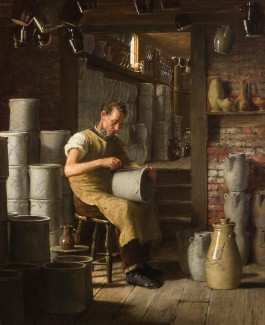 Enoch Wood Perry (American, 1831-1915), The Pottery Artist, 1888. Oil on canvas. Image: 24 1/2 x 20 inches; framed: 32 3/4 x 28 1/2 x 3 1/2 inches. Funds provided by the Sarah Wheeler Charitable Trust in memory of Harold R. (Steve) Wheeler and Sarah Slack Wheeler, 2014.14.