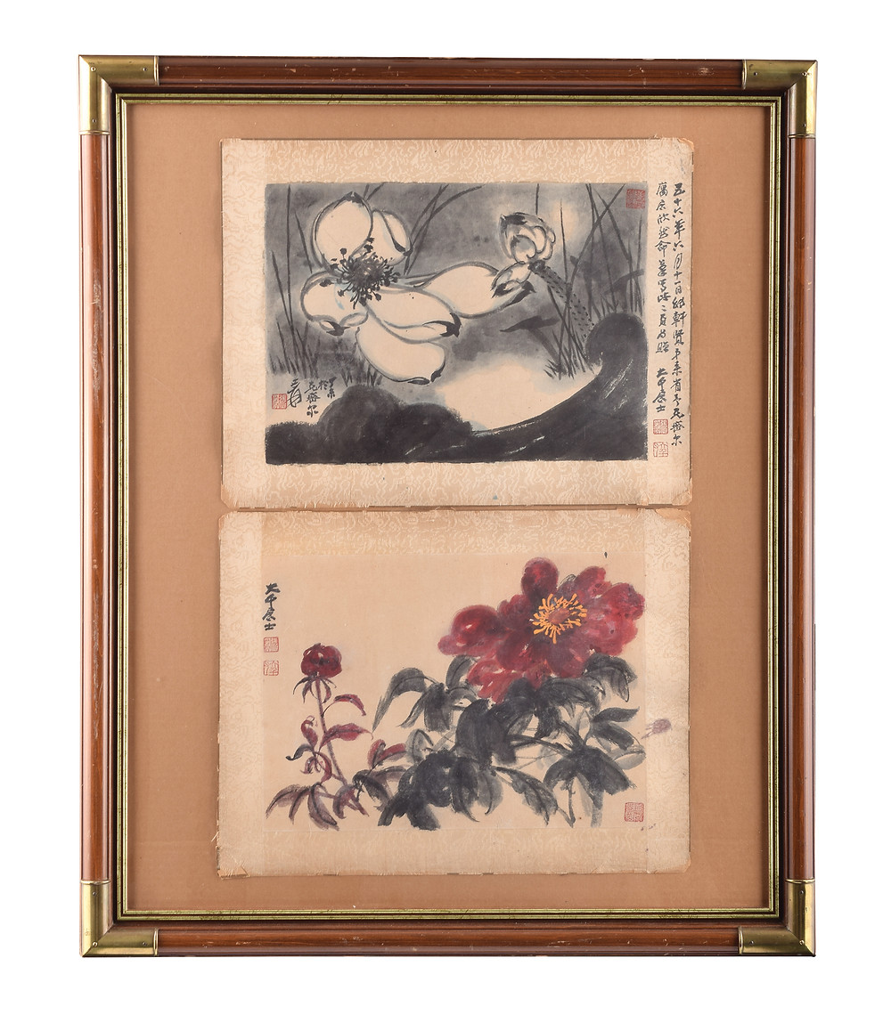 Lotus Amongst Leaves and Floral, by one of the most well-known and significant Chinese artists of the twentieth century, Zhang Daqian (1899-1982).