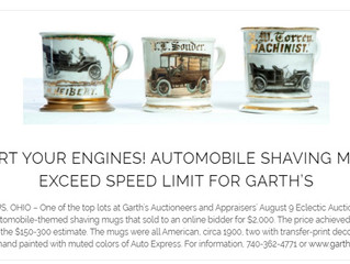 START YOUR ENGINES! AUTOMOBILE SHAVING MUGS EXCEED SPEED LIMIT FOR GARTH'S