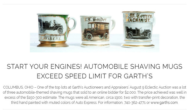 Garth's Eclectic Auction 8-2019 Shaving Mugs lot 133
