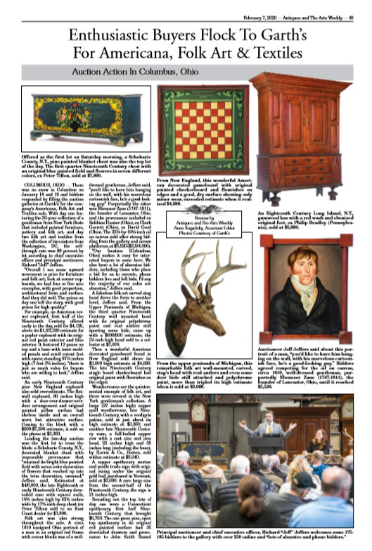 Antiques and The Arts Weekly - The Bee coverage of Garth's January 2020 Americana Auction