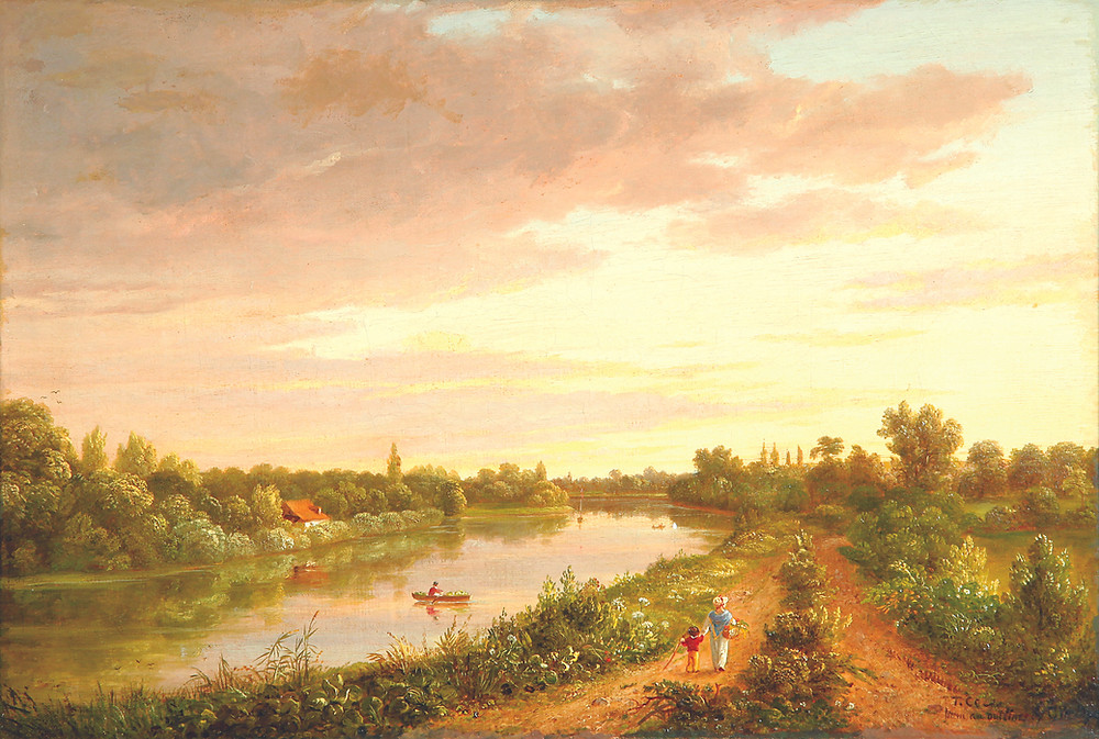 Oil on canvas river landscape after Cornelius Ver Bryck (New York, 1813-1844)