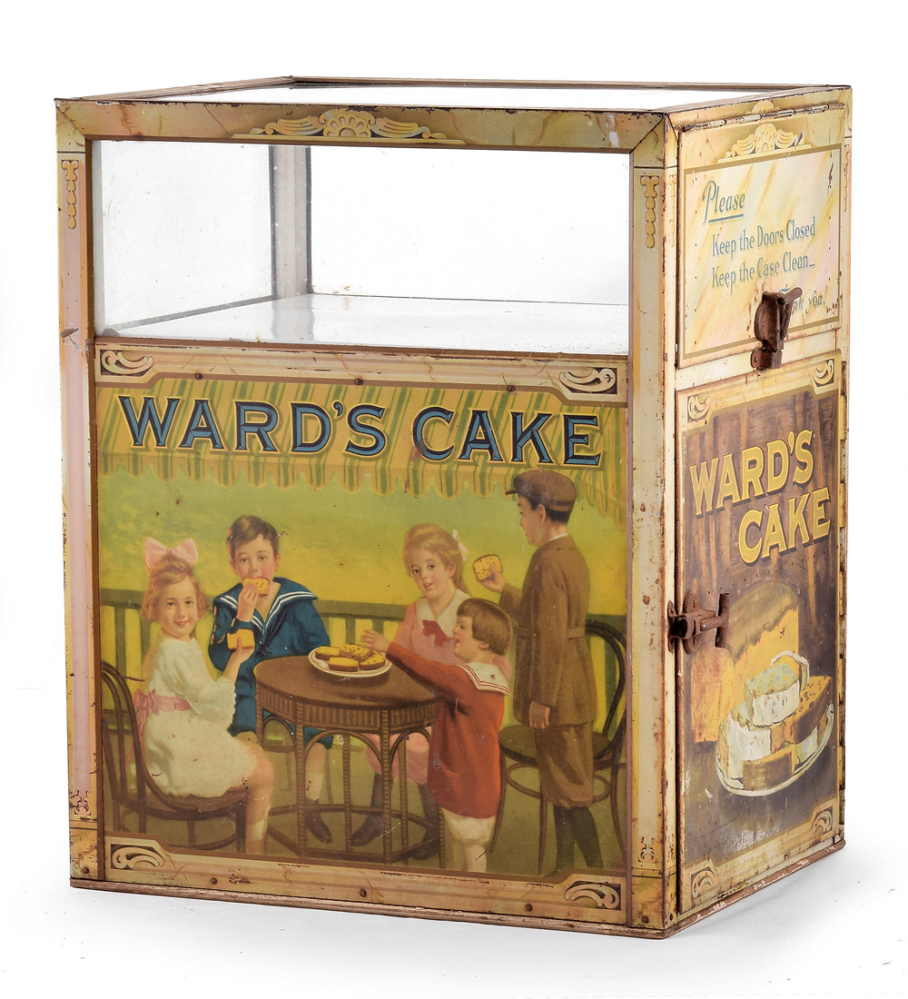 Ward's Cake tin litho store display case, Selkirk Auctioneers