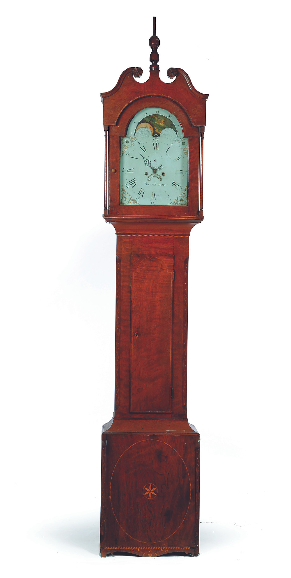 The top lot of the auction was this tall-case clock signed by Michael Hugus (1775-1825) of Somerset County, Pennsylvania. $10,200