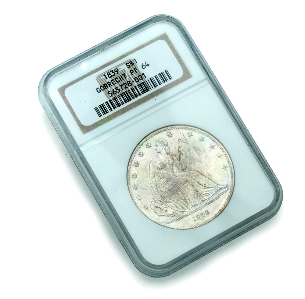 1839 GOBRECHT S$1 J-104 PROOF 64 NGC COIN.