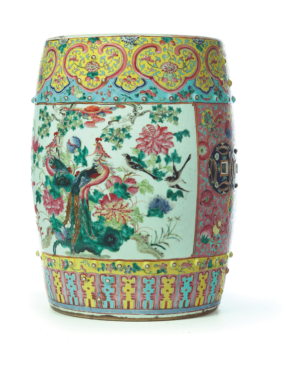 An exquisitely hand-decorated Asian garden seat in brilliant colors, featuring peacocks and the eight Taoist symbols. Sold, $2,820.