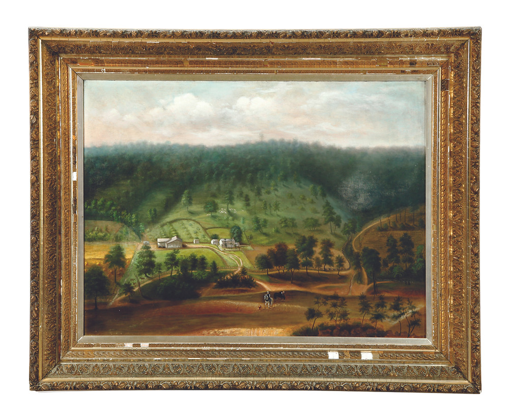 "Landscape of the Mather farm near Lebanon, Ohio, attributed to Marcus Mote (1817-1898), oil on canvas, unsigned, 30"" x 40"", plus its original frame, minor repairs, $12,500."