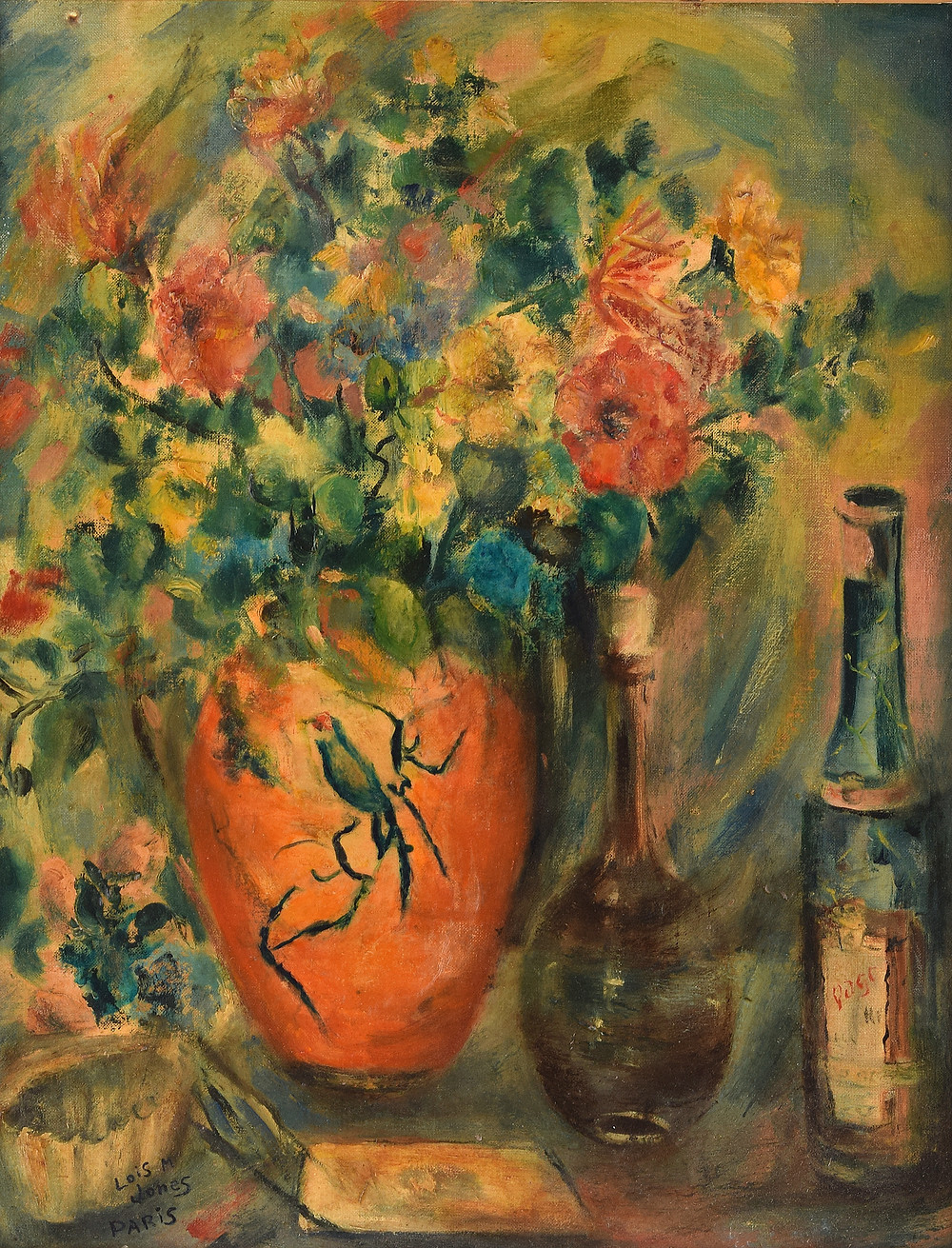 Still Life acrylic painting of a vase of flowers by Lois Marilou Jones. Selkirk Auctions.