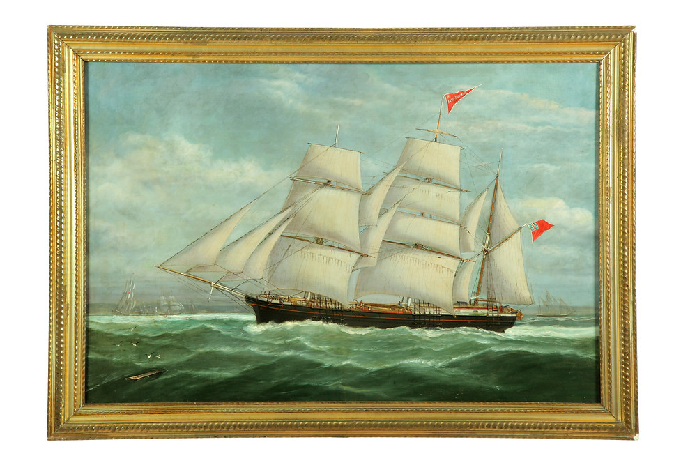 Oil on Canvas Marine Painting, signed, Ship Portrait, Annie Sherwood, by William Mitchell