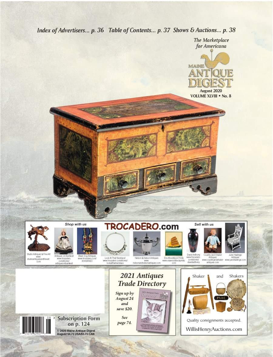 Miniature decorated blanket chest on Cover of August 2020 issue of MAD