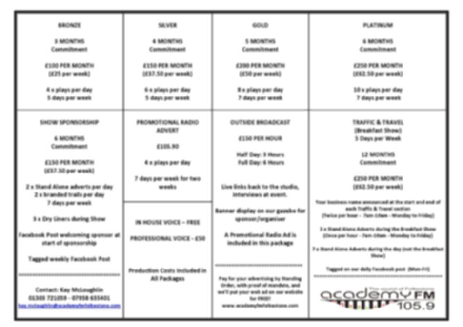 Academy FM Folkestone Advertising Rates-