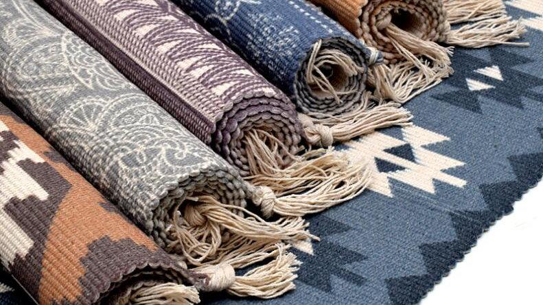 Persian Kilim Cotton Rug Bedside, Living Room Carpet Hand Made Rug Bohemian