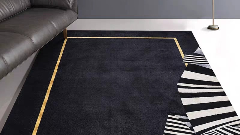 Nordic Style High Density Woven Area Rug, Modern Simple Black Decorative Rug