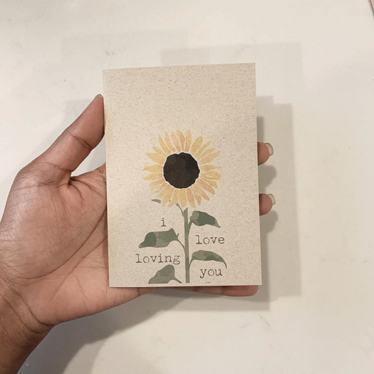 Sweet sunflower greeting card made by me.