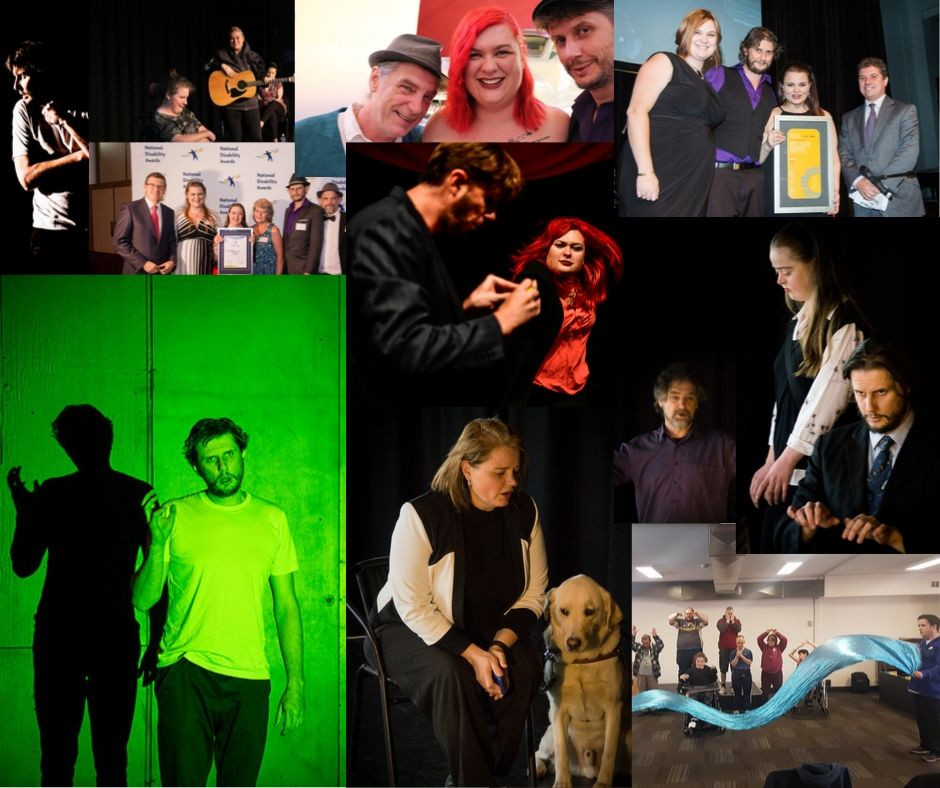A collage of Rebus Theatre's shows and awards