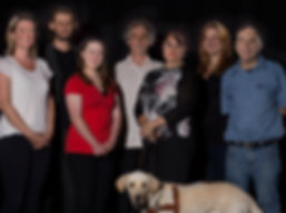 Original Rebus Cast. From left to right: Kate Diggle, Ben Drysdale, Katie Senior, Robin Davidson, Meredyth Pettit, Cara Matthews, John Roger. In front: Guide dog Simba