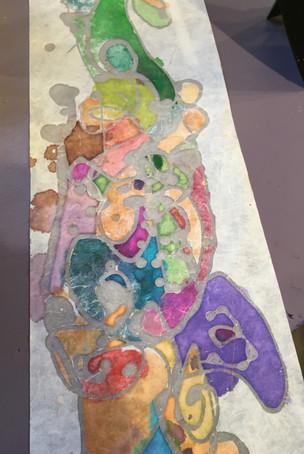 Batik and watercolor on handmade paper