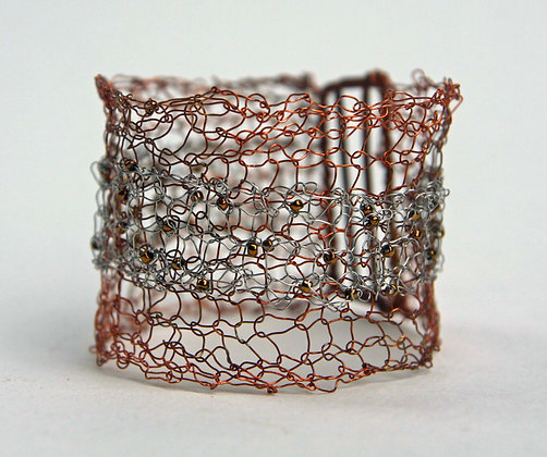 Copper and Steel Knitted Bracelet