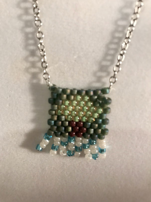 Bead Woven Pendant on a Silver Chain