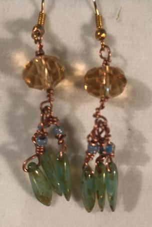 Chain and Bead Earrings