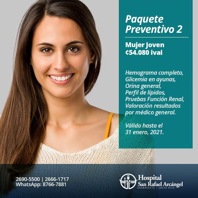 Paquete Preventivo 2 Mujer joven.  Promoción válida hasta el 31 de enero, 2021.