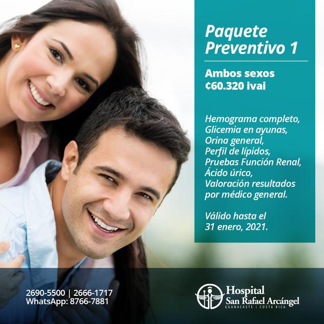 Paquete Preventivo 1 Ambos sexos.  Promoción válida hasta el 31 de enero, 2021.