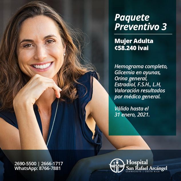 Paquete Preventivo 3 Mujer adulta.  Promoción válida hasta el 31 de enero, 2021.