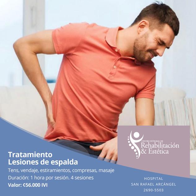Tratamiento lesiones de espalda. 4 sesiones. Oferta válida hasta el 30 de noviembre, 2020.