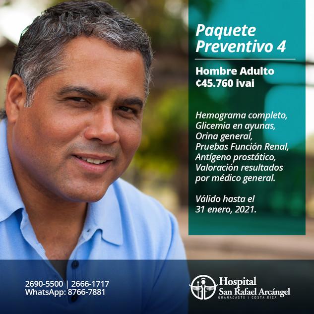 Paquete Preventivo 4 Hombre Adulto.  Promoción válida hasta el 31 de enero, 2021.