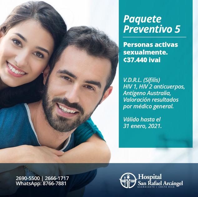 Paquete Preventivo 5 Personas activas sexualmente.  Promoción válida hasta el 31 de enero, 2021.