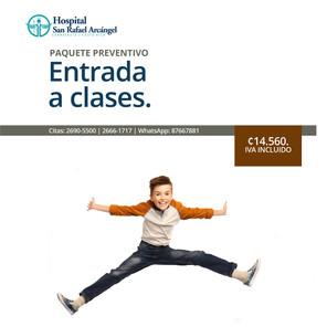 Area Laboratorio Paquete niños.  Servicios: Hemograma. Orina general. Incluye valoración de resultados por médico general.  Promoción vigente hasta el 31 de marzo, 2021.
