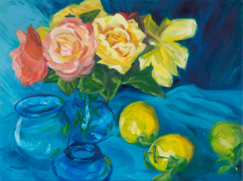 """Still life with Roses - Oil on panel board - framed  9"""" x 12"""""""