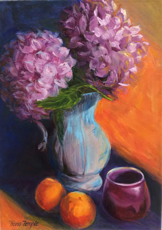 "Still life with Hydrangeas II - Oil on canvas  10"" x 14"""