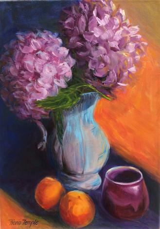 "Still life with Hydrangeas II - Oil on canvas  10"" x 14"""