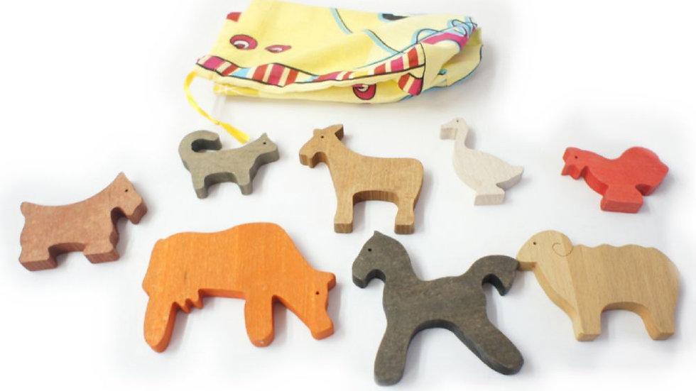 Домашние животные набор деревянных фигурок