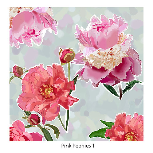Pink Peonies Upholstery Panels