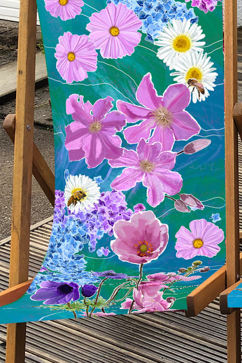 Deckchair Beth's Garden 1 - 100% Polyester Canvas Sling