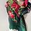 Thumbnail: Christmas Cactus 100% Wool Twill Navy/Crimson Scarf