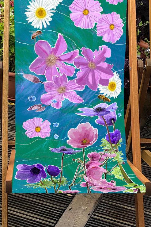 Deckchair Beth's Garden 3 - 100% Polyester Canvas Sling