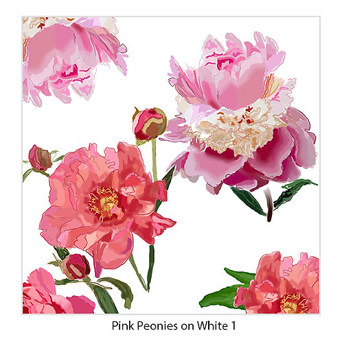 Pink Peonies on White Upholstery Panels