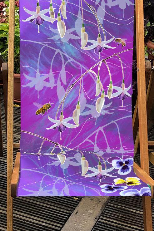 Deckchair Christine's Garden Fuchsias 3 - 100% Polyester Canvas Sling