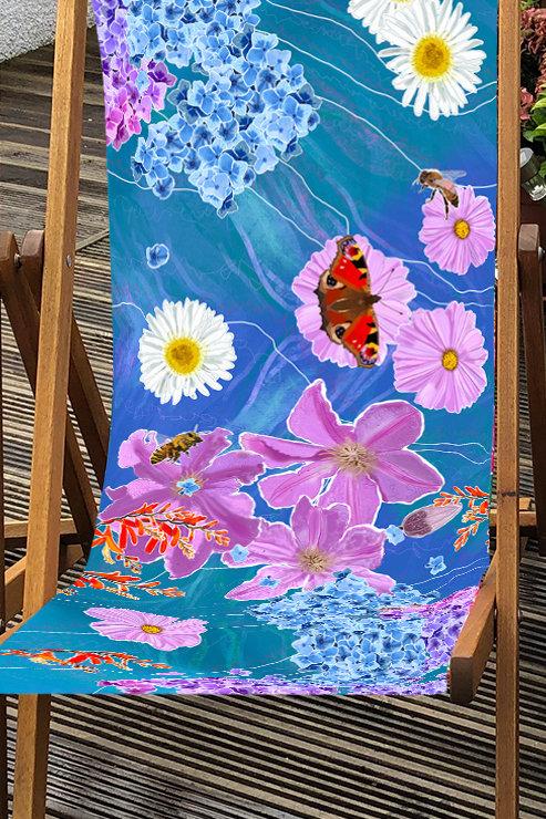 Deckchair Beth's Garden 2 - 100% Polyester Canvas Sling