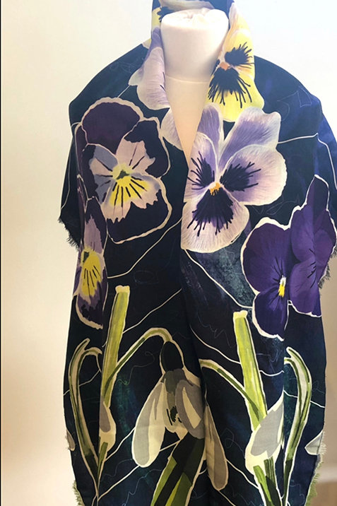 Snowdrops and Pansies 100% Wool Twill Navy Scarf