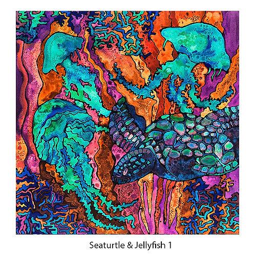 Seaturtle & Jellyfish Upholstery Panel