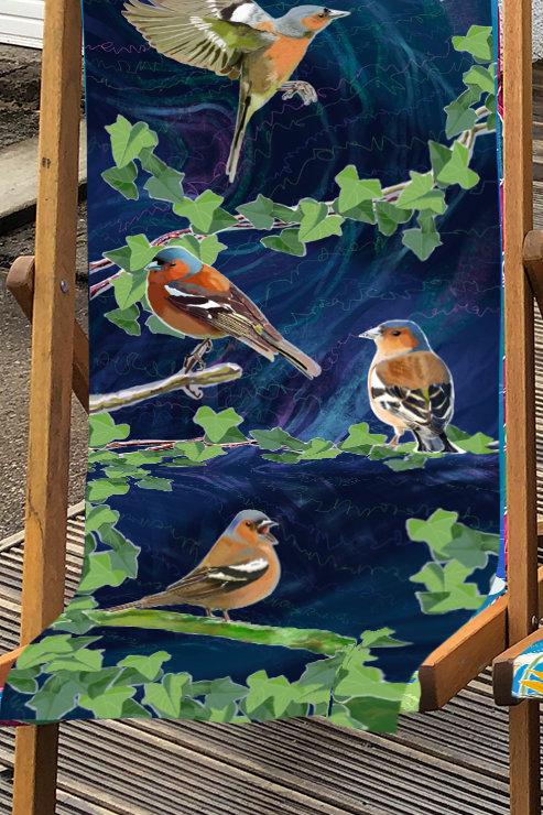 Deckchair - Garden Birds - Chaffinch illustration- 100% Polyester Canvas Sling